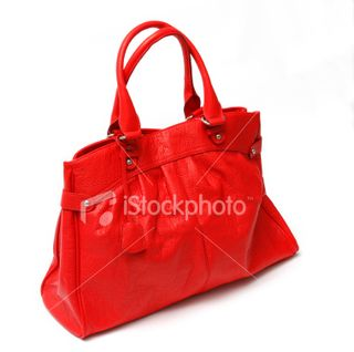Red handbag on white